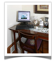 At The Tuck Inn Bed and Breakfast in Rockport, Mass, guests can stay connected for free. All rooms are equipped with WIFI. Then this desk top is available for our guests to use as well.